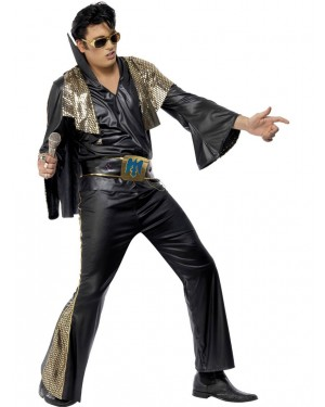 Black Elvis Costume Front View at Fancy Dress and Party