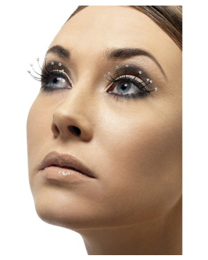 Black Eyelashes with Bead Tips at Fancy Dress and Party