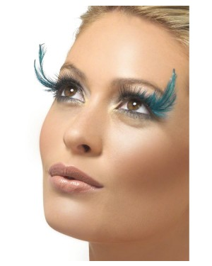Black Eyelashes with Green Feather Plume at Fancy Dress and Party