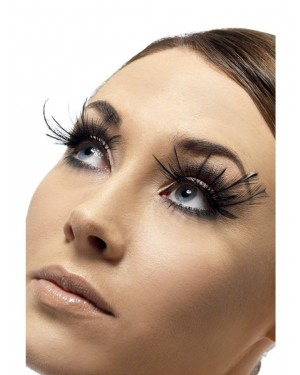 Black Feather Plume Eyelashes at Fancy Dress and Party