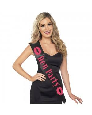 Black Hen Party Sash at Fancy Dress and Party