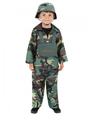 Boys Army Soldier Costume Front at Fancy Dress and Party