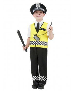 Boys Police Costume Front at Fancy Dress and Party