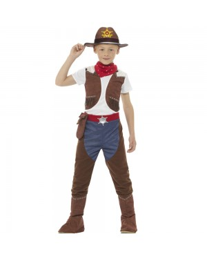 Childs Cowboy Outfit Front View at Fancy Dress and Party