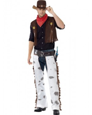 Cowhide Cowboy Costume Front at Fancy Dress and Party