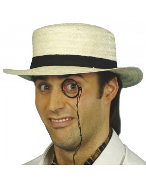 Cream Straw Boater at Fancy Dress and Party