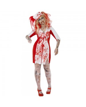 Curves Zombie Nurse Costume Front View at Fancy Dress and Party