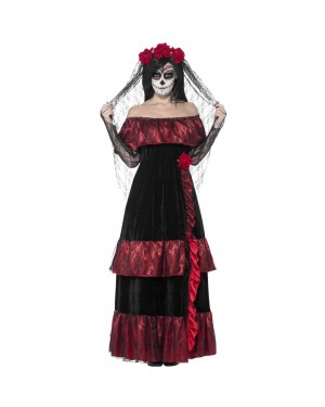 Day of the Dead Bride Costume Front View at Fancy Dress and Party