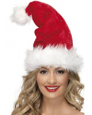 Deluxe Christmas Santa Hat With Fur Trim at Fancy Dress and Party