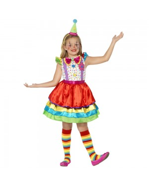 Deluxe Clown Girl Costume Front View at Fancy Dress and Party