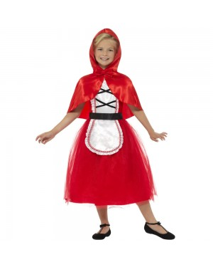 Deluxe Girls Red Riding Hood Costume Front View at Fancy Dress and Party