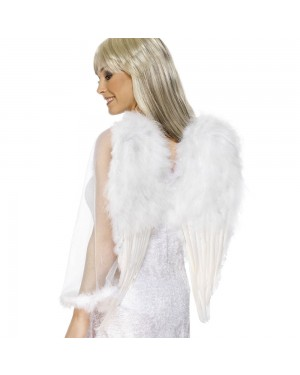 Feathered White Angel Wings at Fancy Dress and Party