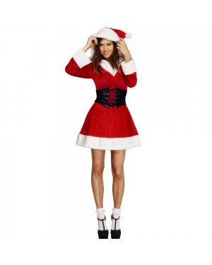 Fever Hooded Santa Costume Front View at Fancy Dress and Party