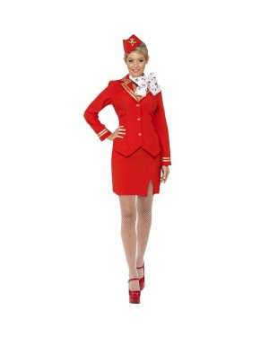 Flight Attendant Costume Front View at Fancy Dress and Party