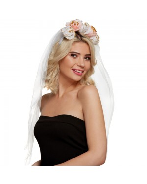 Flower Headband with Veil at Fancy Dress and Party