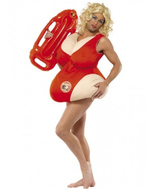 Funny Baywatch Costume Front View at Fancy Dress and Party