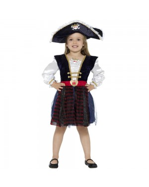 Girls Deluxe Pirate Costume Front View at Fancy Dress and Party