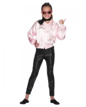 Girls Grease Pink Ladies Jacket Front at Fancy Dress and Party
