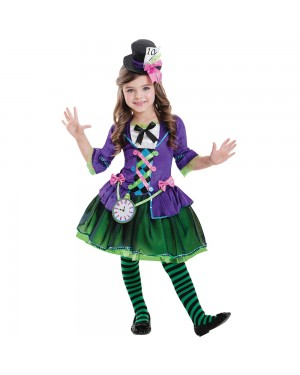 Girls Purple Mad Hatter Costume at Fancy Dress and Party
