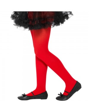Girls Red Tights Opaque at Fancy Dress and Party
