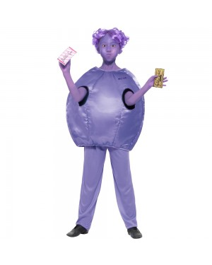 Girls Roald Dahl Violet Beauregarde Costume Front View Fancy Dress and Party