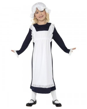 Girls Victorian Peasant Costume Front at Fancy Dress and Party