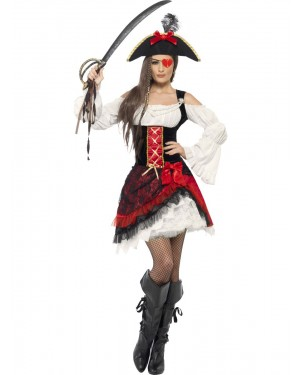 Glam Pirate Costume Front at Fancy Dress and Party