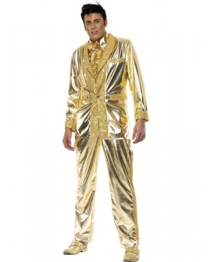 Gold Elvis Costume Front View at Fancy Dress and Party