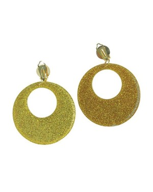 Gold Glitter Earrings at Fancy Dress and Party