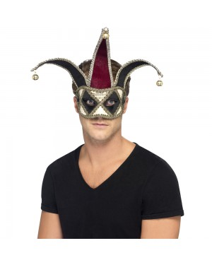 Gothic Venetian Jester Mask at Fancy Dress and Party