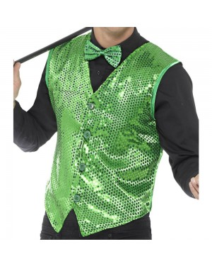 Green Sequin Waistcoat Front View at Fancy Dress and Party