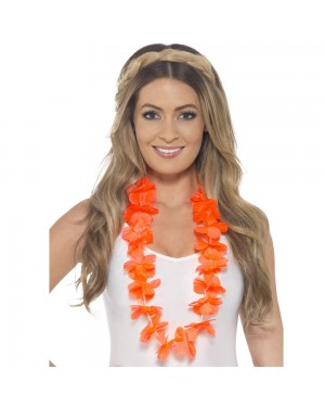 Hawaiian Neon Orange Flowered Bra at Fancy Dress and Party