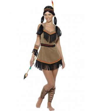 Indian Squaw Costume Front at Fancy Dress and Party