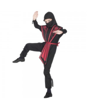 Kids Black Ninja Costume Front View at Fancy Dress and Party