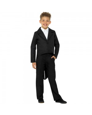 Kids Black Tailcoat Front View at Fancy Dress and Party