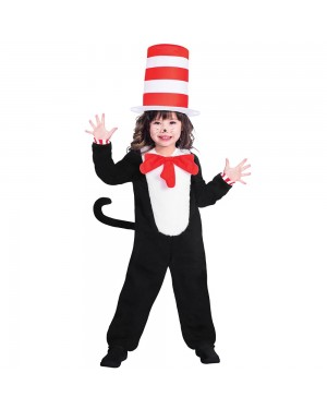 Kids Cat in the Hat Costume Girls View at Fancy Dress and Party