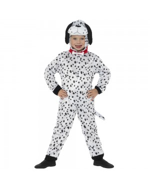 Kids Dalmatian Dog Costume Front View at Fancy Dress and Party