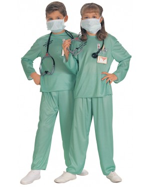 Kids Green Doctor Costume at Fancy Dress and Party