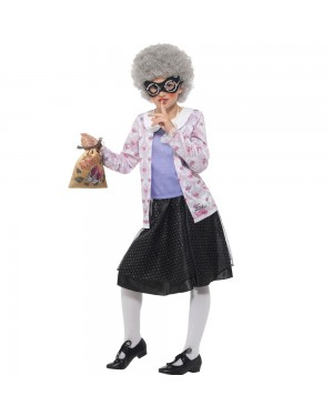 Kids Gangsta Granny Costume Front View at Fancy Dress and Party