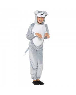 Kids Grey Dog Costume Front View at Fancy Dress and Party