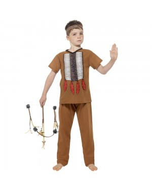 Kids Native Indian Warrior Costume Front View at Fancy Dress and Party