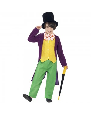 Kids Roald Dahl Willy Wonka Costume Front View at Fancy Dress and Party