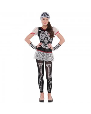 Kids Sassy Skeleton Costume at Fancy Dress and Party