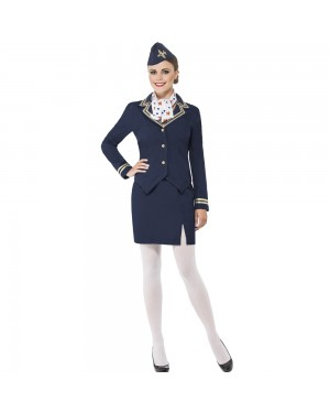 Ladies Blue Airways Attendant Costume Front View at Fancy Dress and Party