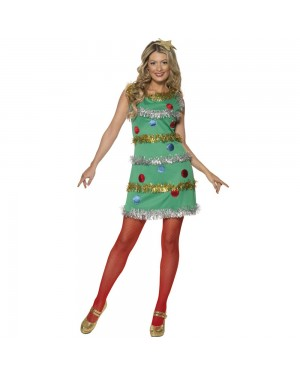 Ladies Christmas Tree Costume Front View at Fancy Dress and Party