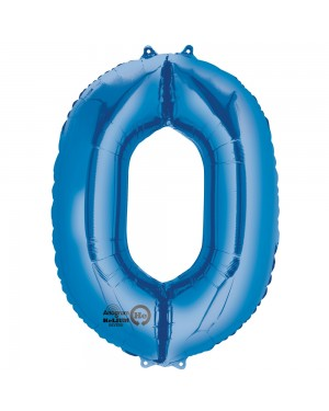 Large Blue Number 0 Foil Balloon at Fancy Dress and Party