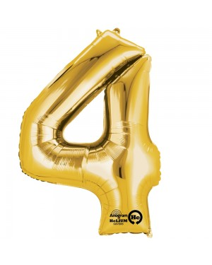 Large Gold Number 4 Foil Balloon at Fancy Dress and Party