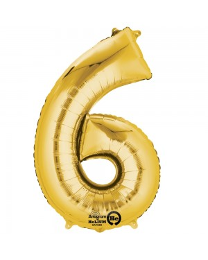 Large Gold Number 6 Foil Balloon at Fancy Dress and Party