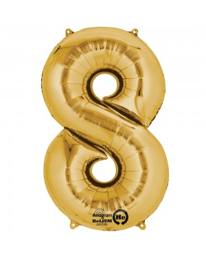 Large Gold Number 8 Foil Balloon at Fancy Dress and Party