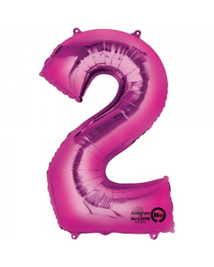 Large Pink Number 2 Foil Balloon at Fancy Dress and Party